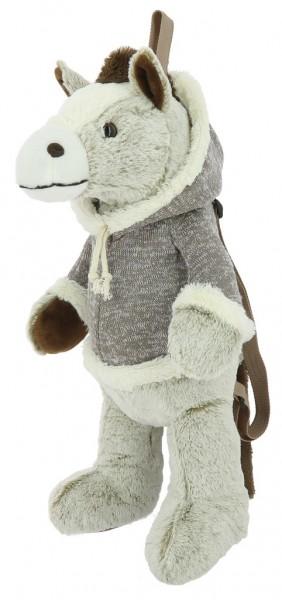 EQUI-KIDS Rucksack Pferd, Ansicht vorne/Seite, beige-meliert,50cm