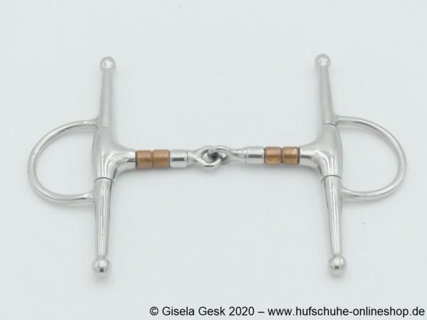 Schenkeltrense 13mm Edelstahl einfach gebrochen mit Kupferrollen